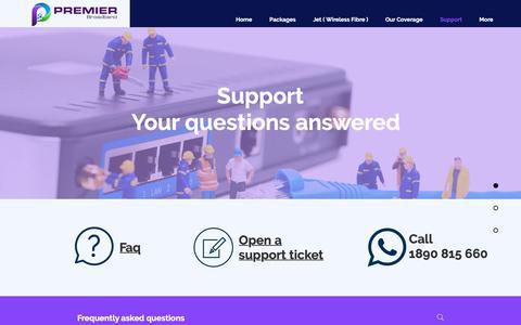 Screenshot of Support Page premiernet.ie - Premier Broadband Support - captured Sept. 29, 2018