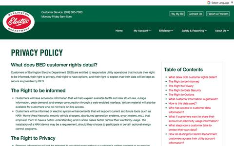 Screenshot of Privacy Page burlingtonelectric.com - Privacy Policy   Burlington Electric Department - captured Oct. 11, 2017