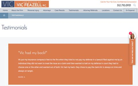 Screenshot of Testimonials Page withviclegal.com - Testimonials | Law Offices of Vic Feazell, P.C. - captured July 20, 2017