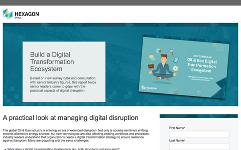 Screenshot of Landing Page hexagonppm.com - Oil and Gas Digital Transformation Report | Hexagon PPM - captured March 6, 2018