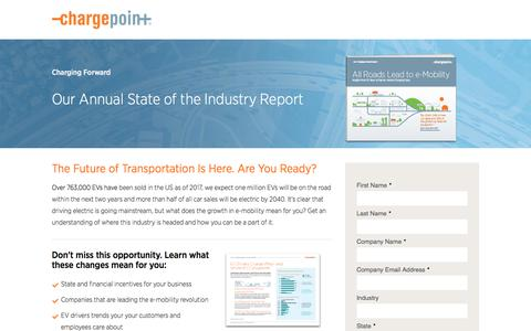 Screenshot of Landing Page chargepoint.com - ChargePoint Charging Forward Report - captured March 5, 2018