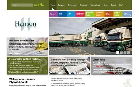 Screenshot of Home Page hanson-plywood.co.uk - Bespoke service supplying a complete range of panel products - captured June 17, 2015