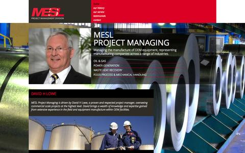 Screenshot of Home Page mesprojectmanaging.co.uk - Home - Mechanical Engineering Services Ltd (MESL) - captured Oct. 4, 2014