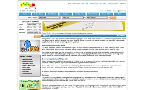 Screenshot of About Page savingsmela.com - News Paper offer ads | Weekly ads In India | Sunday Ads in India | Paper ads India - captured Oct. 3, 2014