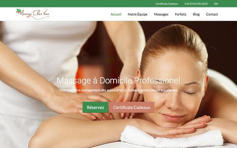 Screenshot of Home Page massagechezvous.ca - Accueil - Massage Chez Vous - captured Jan. 9, 2016