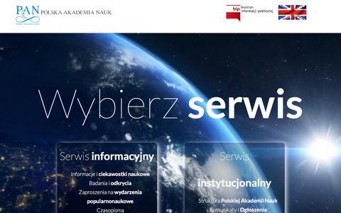 Screenshot of Home Page Privacy Page pan.pl - Polska Akademia Nauk - captured Nov. 26, 2016