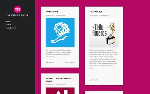 Screenshot of Press Page theebelinggroup.com - press & awards | TEG - captured Feb. 28, 2016