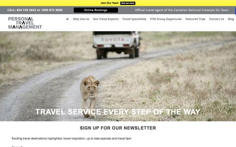 Screenshot of Signup Page personaltravel.ca - Travel News | Travel Agency | Personal Travel Management - captured Jan. 27, 2016