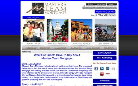 Screenshot of Testimonials Page mastersteammortgage.com - Masters Team Mortgage - loanOptions - Featured - Testimonials - captured Oct. 6, 2014