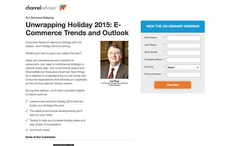 Screenshot of Landing Page channeladvisor.com - Unwrapping Holiday 2015: E-Commerce Trends and Outlook | ChannelAdvisor - captured April 8, 2018