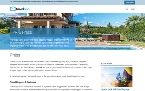 Screenshot of Press Page travelopo.com - Influencers & Press, Work with Travelopo's Press Team - captured Sept. 22, 2018