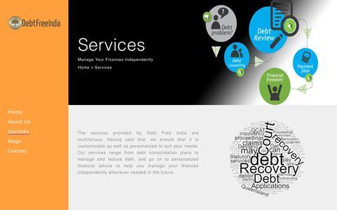 Screenshot of Services Page debtfreeindia.com - Debt Free India |   Services - captured Dec. 9, 2018