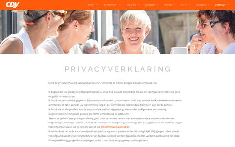 Screenshot of Privacy Page minouesquenet.be - Minou Esquenet | Schepen van Personeel, Tewerkstelling, Sociale Economie en Landbouw | Brugge | CD&V  | Contact - captured Oct. 22, 2018