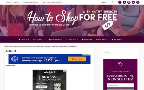 Screenshot of About Page howtoshopforfree.net - About | How to Shop For Free with Kathy Spencer - captured March 16, 2019