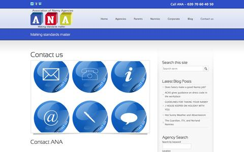 Screenshot of Contact Page anauk.org - Contact the Association of Nanny Agencies - captured Oct. 4, 2014