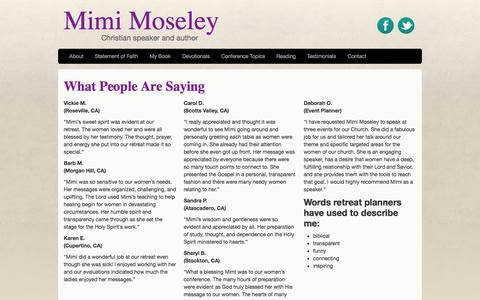 Screenshot of Testimonials Page mimimoseley.com - What People Are Saying | Mimi Moseley | Christian Speaker and Author - captured Oct. 4, 2014