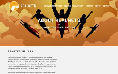 Screenshot of About Page realnets.com - Welcome To Realnets – Chicago's premiere Web Design, Web Hosting and IT Consulting Firm   –  About Realnets - captured July 3, 2015