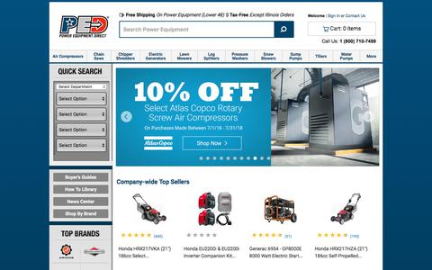 Screenshot of Home Page powerequipmentdirect.com - Outdoor Power Equipment at Power Equipment Direct - The Power to Choose Wisely™ - Outdoor Power Equipment Superstore - Power Equipment Dealer, Outdoor Power Equipment Store, Outdoor Power Equipment for Sale, Outdoor Power Equipment Dealers - captured July 19, 2018