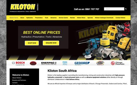 Screenshot of Home Page kiloton.co.za - Hydraulic and Tool Supplier | Kiloton South Africa - captured Oct. 15, 2018