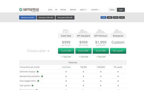Screenshot of Pricing Page semantria.com - Semantria: Plan & Pricing - captured Oct. 10, 2014