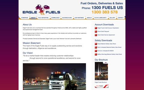 Screenshot of About Page eaglefuels.com.au - Eagle Fuels - About - captured Sept. 29, 2014