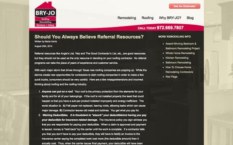 Screenshot of Blog bryjo.com - The Bry-Jo Home Improvement and Remodeling Blog - captured Oct. 4, 2014
