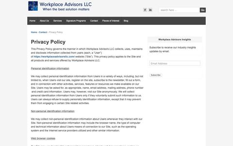 Screenshot of Privacy Page workplaceadvisorsllc.com - Privacy Policy - Workplace Advisors LLC - captured Oct. 20, 2018