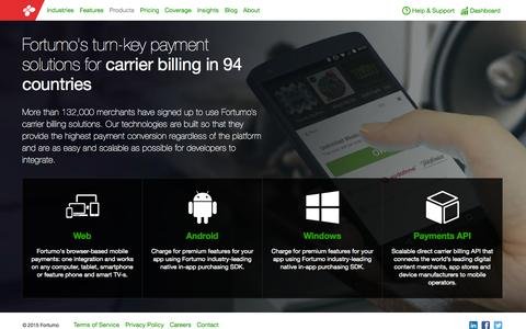 Screenshot of Products Page fortumo.com - Mobile Payments in 94 Countries   Fortumo.com - captured Nov. 10, 2015
