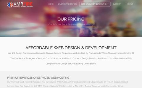 Screenshot of Pricing Page xmrfire.com - Discount Web Hosting and Web Design for Fire Departments and EMS Agencies - XMRFire Emergency Services Consulting - captured Feb. 17, 2018