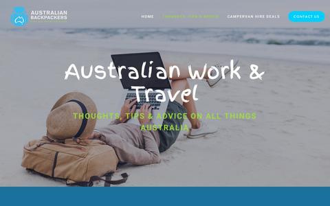 Screenshot of Blog australianbackpackers.net - Blog — Work, Travel, Campervan & RV Hire | Australian Backpackers - captured Oct. 4, 2018