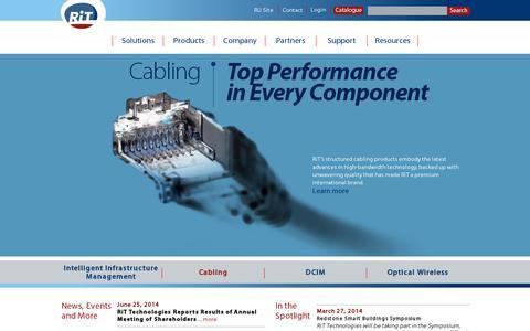 Screenshot of Home Page rittech.com - RiT Technologies Ltd. - captured July 11, 2014