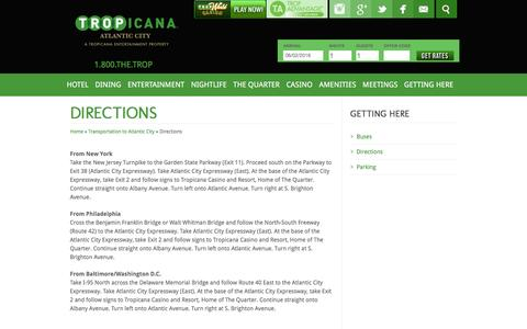 Screenshot of Maps & Directions Page tropicana.net - Tropicana Atlantic City | Directions | Hotel - captured June 2, 2016