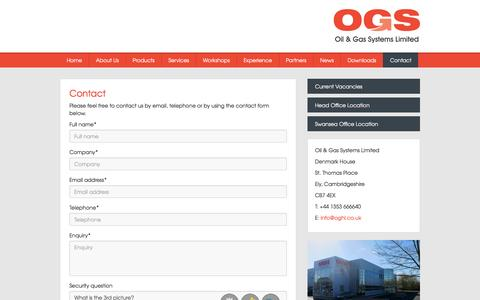 Screenshot of Contact Page ogsl.com - Oil & Gas Systems Limited - Contact - captured Feb. 16, 2016