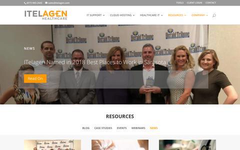 Screenshot of Press Page itelagen.com - News | ITelagen® - captured Dec. 28, 2018