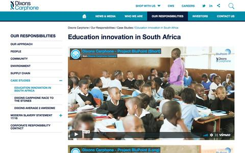 Screenshot of Case Studies Page dixonsretail.com - Education innovation in South Africa | Dixons Carphone - captured Aug. 5, 2018
