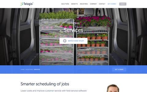 Screenshot of Services Page telogis.com - Mobile Work Order Management & Service Planning Solutions | Telogis - captured Nov. 20, 2015
