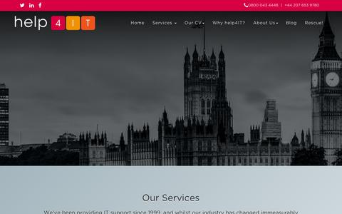 Screenshot of Services Page help4it.co.uk - Outsourced IT Services - help4IT - captured Dec. 9, 2015