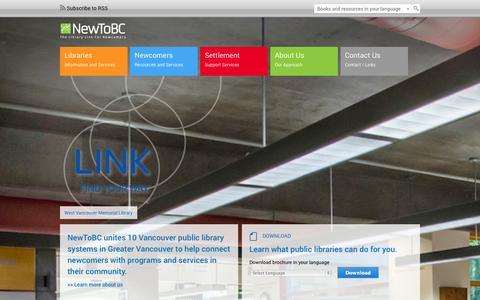 Screenshot of Home Page newtobc.ca - NewToBC - captured Oct. 7, 2014