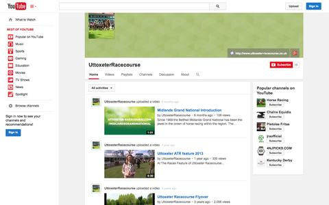 Screenshot of YouTube Page youtube.com - UttoxeterRacecourse  - YouTube - captured Oct. 26, 2014