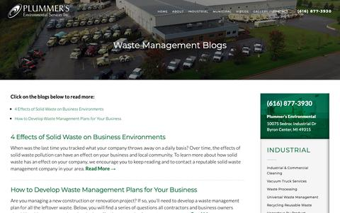 Screenshot of Blog plummersenv.com - Waste Management Blogs | Waste Management | Waste Disposal | Byron Center MI - captured Sept. 28, 2018