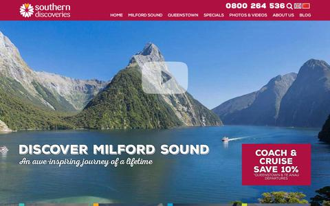 Screenshot of Home Page southerndiscoveries.co.nz - Milford Sound and Queenstown Cruises   Southern Discoveries - captured June 15, 2017