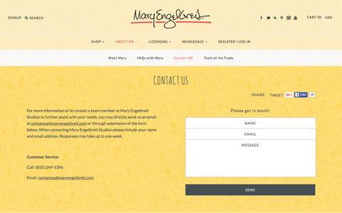 Screenshot of Contact Page maryengelbreit.com - Contact Us – Mary Engelbreit Studios - captured Feb. 12, 2016
