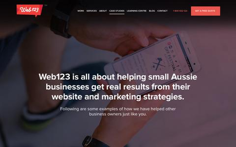 Screenshot of Case Studies Page web123.com.au - We are all about effective digital solutions, these case studies show our results - Web123 Australia - captured June 23, 2017