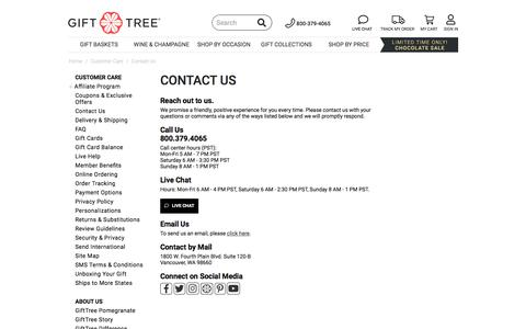 Screenshot of Contact Page gifttree.com - Contact Us | GiftTree - captured Aug. 23, 2019