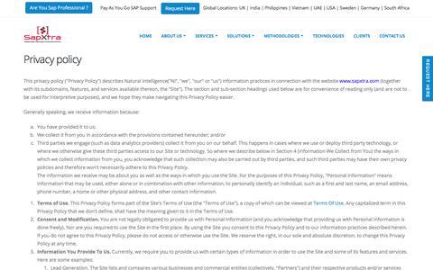 Screenshot of Privacy Page sapxtra.com - sapxtra.com - captured Sept. 29, 2017
