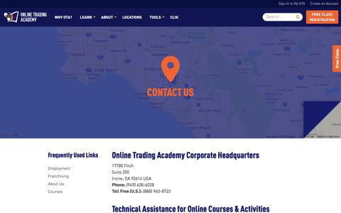 Screenshot of Contact Page tradingacademy.com - Contact Us - Online Trading Academy - captured Feb. 19, 2020