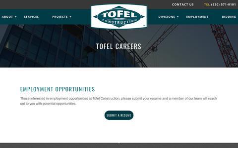 Screenshot of Jobs Page tofelconstruction.com - Tofel Careers - Tofel Construction - captured Nov. 13, 2017