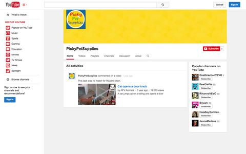 Screenshot of YouTube Page youtube.com - PickyPetSupplies  - YouTube - captured Oct. 22, 2014