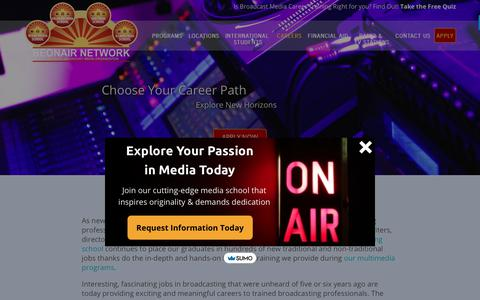 Screenshot of Jobs Page beonair.com - Types of Careers in Broadcasting - Broadcasting Careers | Be On Air - captured Sept. 20, 2018