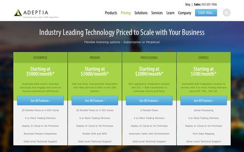 Screenshot of Pricing Page adeptia.com - Adeptia Integration Suite | Adeptia Pricing - captured July 24, 2016